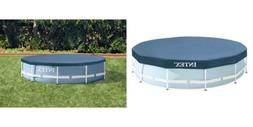 Intex Round Metal Frame Pool Cover, Blue, 10 ft 10